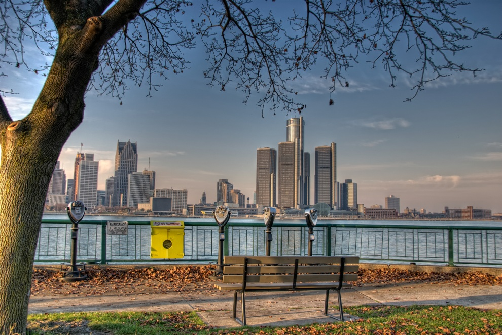 Looking at Detroit from the Civic Terrace, Windsor, Ontario, Canada. AS