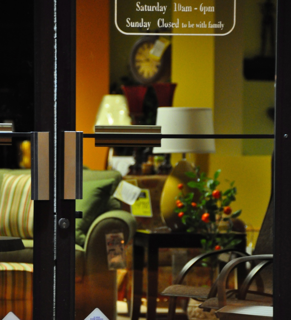 The front door of VanDrie Furniture in Traverse City, taken May 4th, 2011, at 11pm. DL